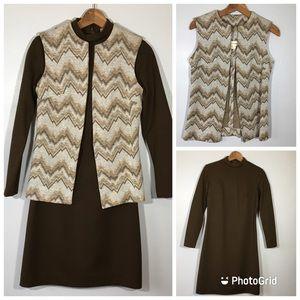 Vintage 1970's Two Piece Mini Dress and Long Vest